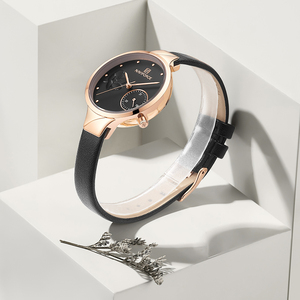 Image 2 - NAVIFORCE Brand Luxury Leather Fashion Watches Women Creative Rose Dial Casual Elegant Lady Quartz Wrist Watch Relogio Feminino