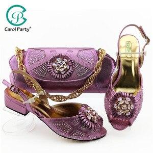 Image 1 - 2019 装飾ラインストーンの靴とバッグセットアフリカのデザインマッチングの靴とバッグセット低ヒール靴 L。紫