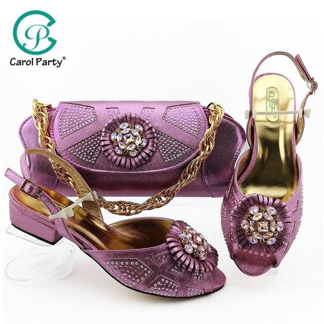 2019 装飾ラインストーンの靴とバッグセットアフリカのデザインマッチングの靴とバッグセット低ヒール靴 L。紫