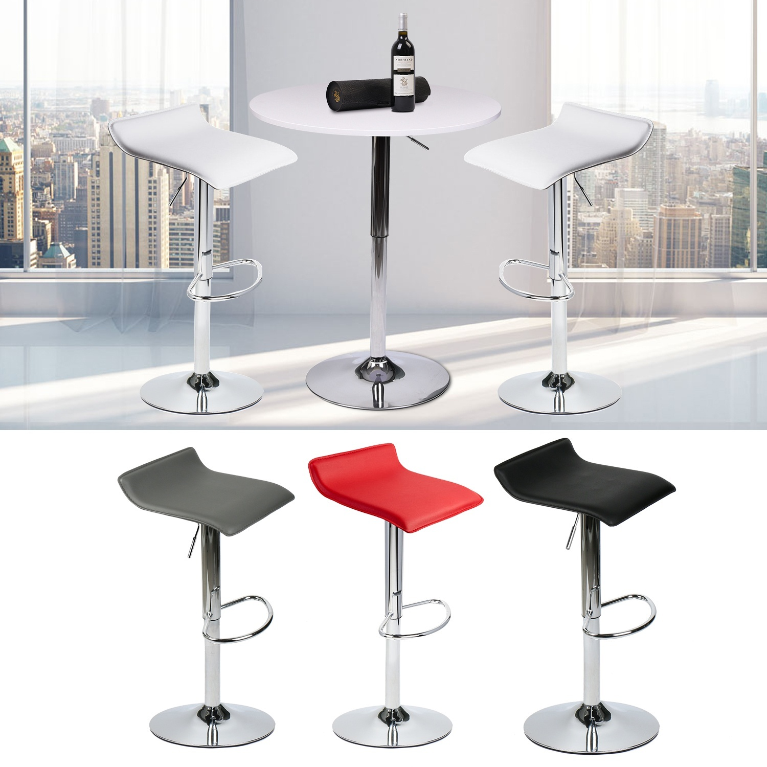 3 Piece Bar Table And  Stools Counter Adjustable Swivel Pub Kitchen Dining