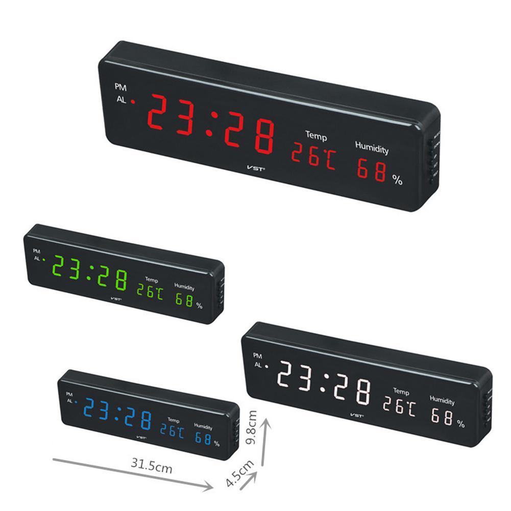Электронный светодиодный будильник с календарем и температурой для стола или настенного крепления для гостиной, полки для учебы|Будильники|   | АлиЭкспресс