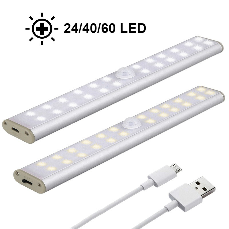 LED Under Cabinet Light PIR Motion Sensor Lamp 24/40/60 LED Wireless USB Kitchen Lights For Wardrobe Closets светильники