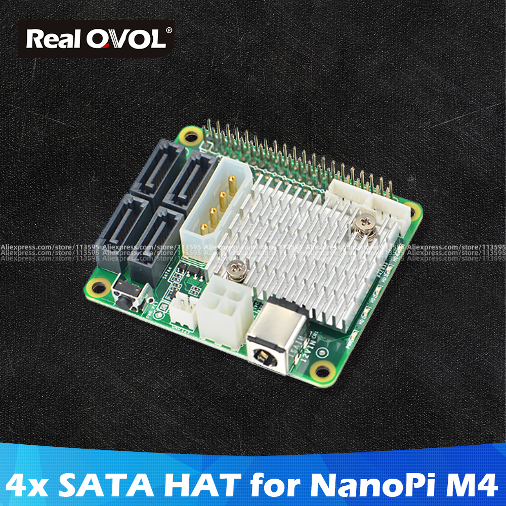 RealQvol FriendlyELEC ELEC NanoPi M4 4x SATA HAT Support 6Gbps/3Gbps/1.5Gbps Integrated Power Connector