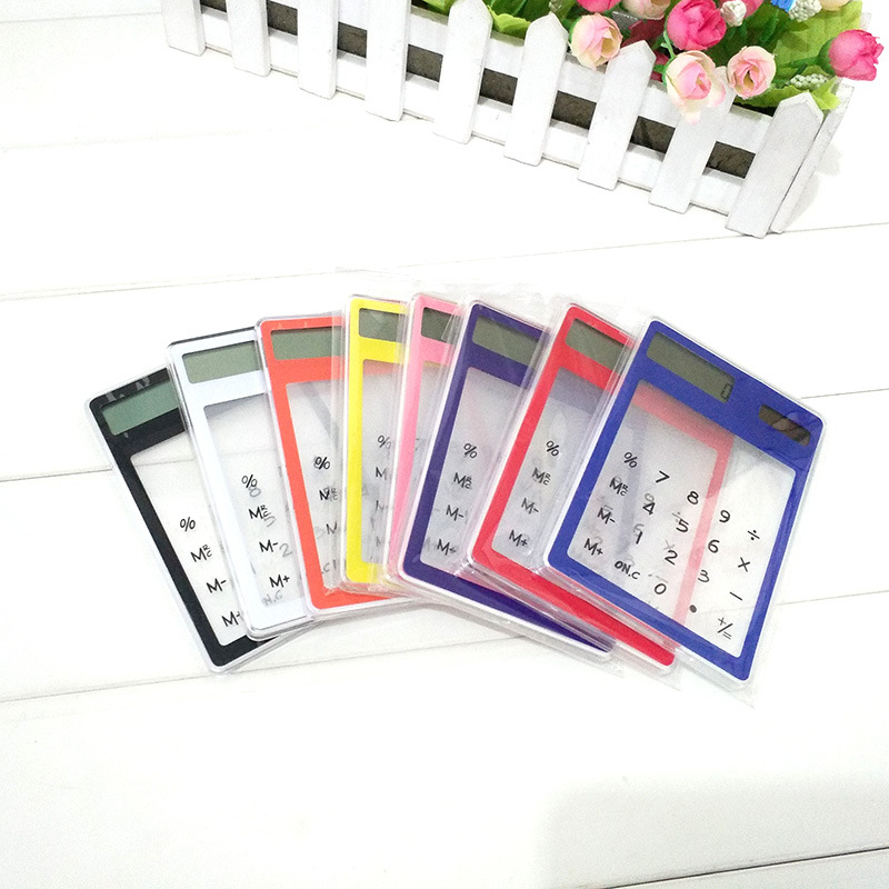 Transparent Calculator Creative Student Stationery Ultra-thin Solar Minicomputer Portable Learning Office Student Calculator