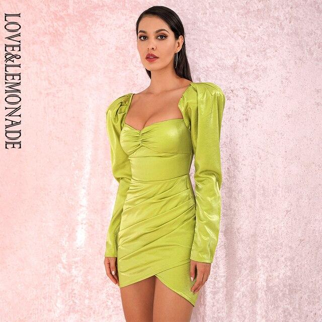 LOVE&LEMONADE Fluorescent Green Sexy Square Collar Bubble