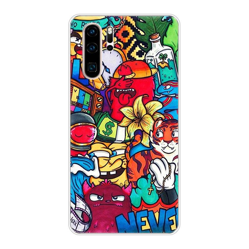Cute Cartoon Graffiti Sticker SOFT TPU Phone Case For Huawei Y9S Y7P Y6S P40 P30 Pro P20 Lite Nova 5T 5 6 3I P-Smart Z Plus 2019