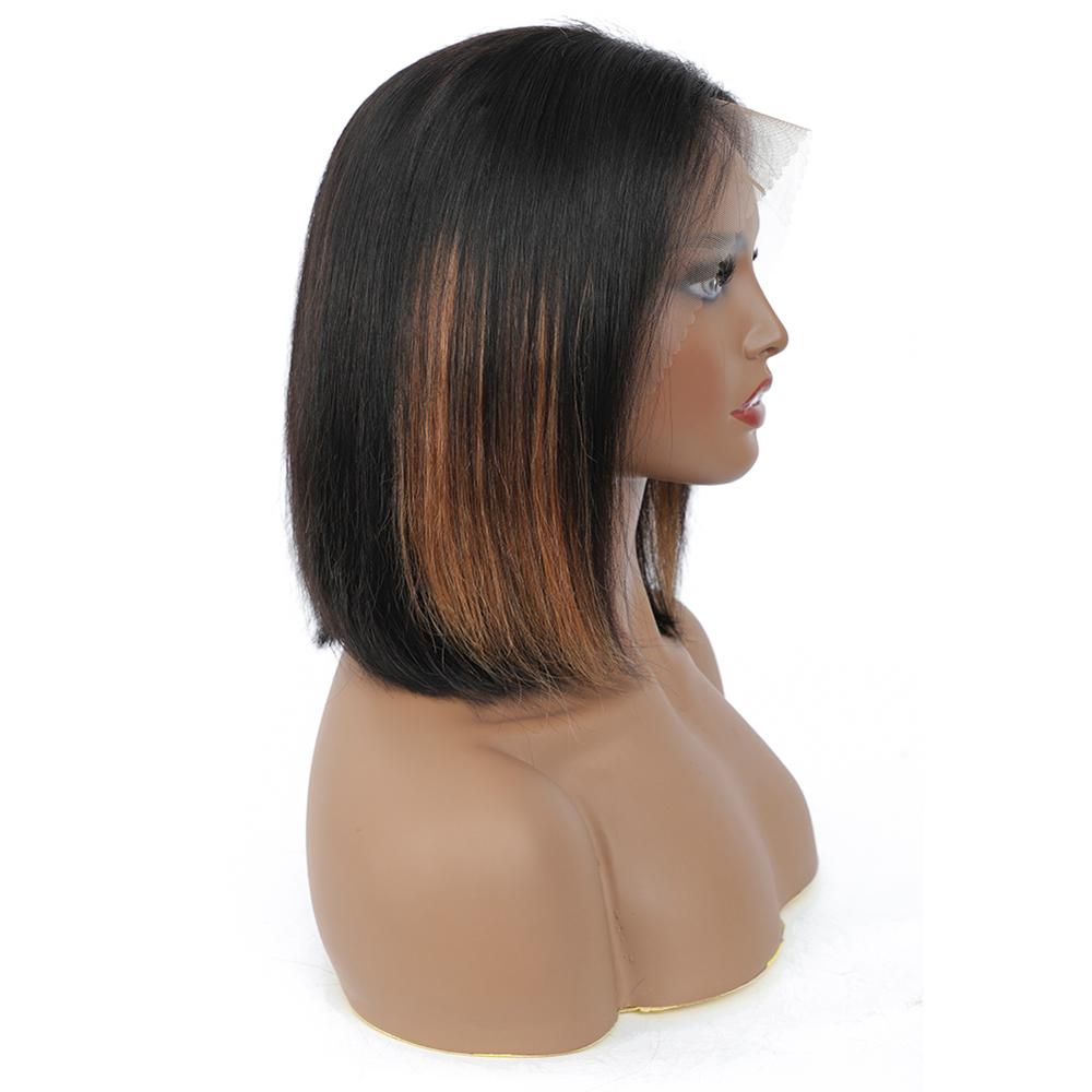 Natural Blonde Straight Short Glueless  HD Color Full Lace Front 13*4 Transparent Highlight  Bob  Pixie Cut Wigs Bang 5
