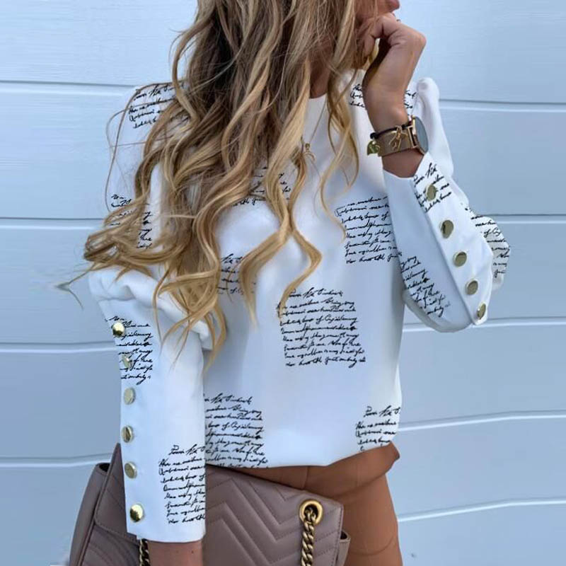 Elegant New Puff shoulder blouse shirts Office Lady Autumn Metal Buttoned Detail Blouses women Pineapple print long sleeve tops 1