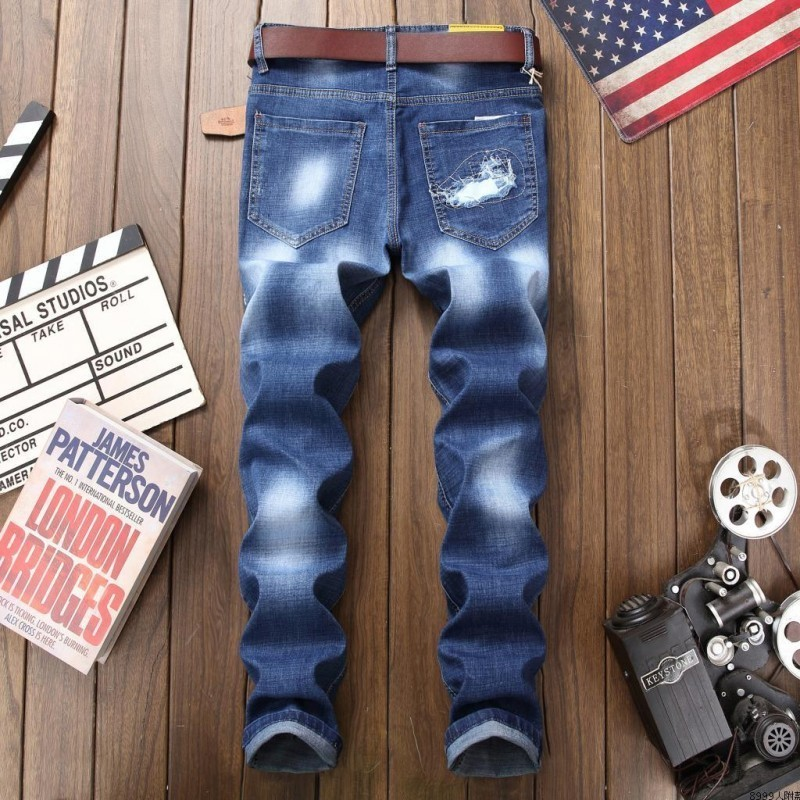 Summer Elastic Frayed Mens Slim Fit Jeans Pants Skinny Straight Punk Style Print Patches Casual Big Size Mens Denim Trousers