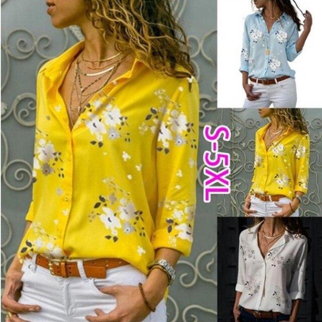Women White Blouses Basic Selling Button Solid 2019 Autumn Long Sleeve Shirt Female Chiffon Women's Slim Clothing Plus Size Tops 4