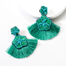 Lukeni 2019 New Trendy Flower Tassel Fringed Drop Earrings for Women Bohemian Resin Beads Pendant Statement Jewelry