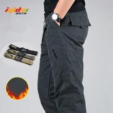 男性の防水冬のカーゴパンツフリース厚く暖かいパンツ二重層マルチポケットカジュアル軍事だぶだぶ戦術的なズボン