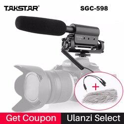 Takstar SGC-598 مكثف فيديو ميكرفون تسجيل لنيكون كانون سوني DSLR كاميرا ، تسجيل الدخول مقابلة ميكروفون sgc 598