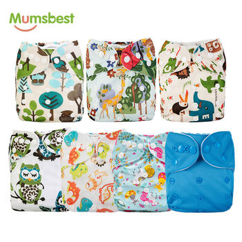 [Mumsbest] 7Pcs/Set Wholesale Diaper Unisex Cute Printed Baby Cloth Diapers Adjustable Washable Babies Nappies Infants Diapers