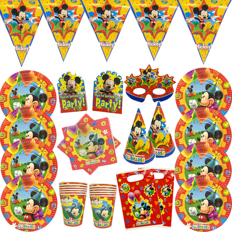 New Arrival Mickey Mouse Theme Birthday Party Supplies Paper Cup Plate Straws Flags Blowout Kid Favor Party DecorationSupplies