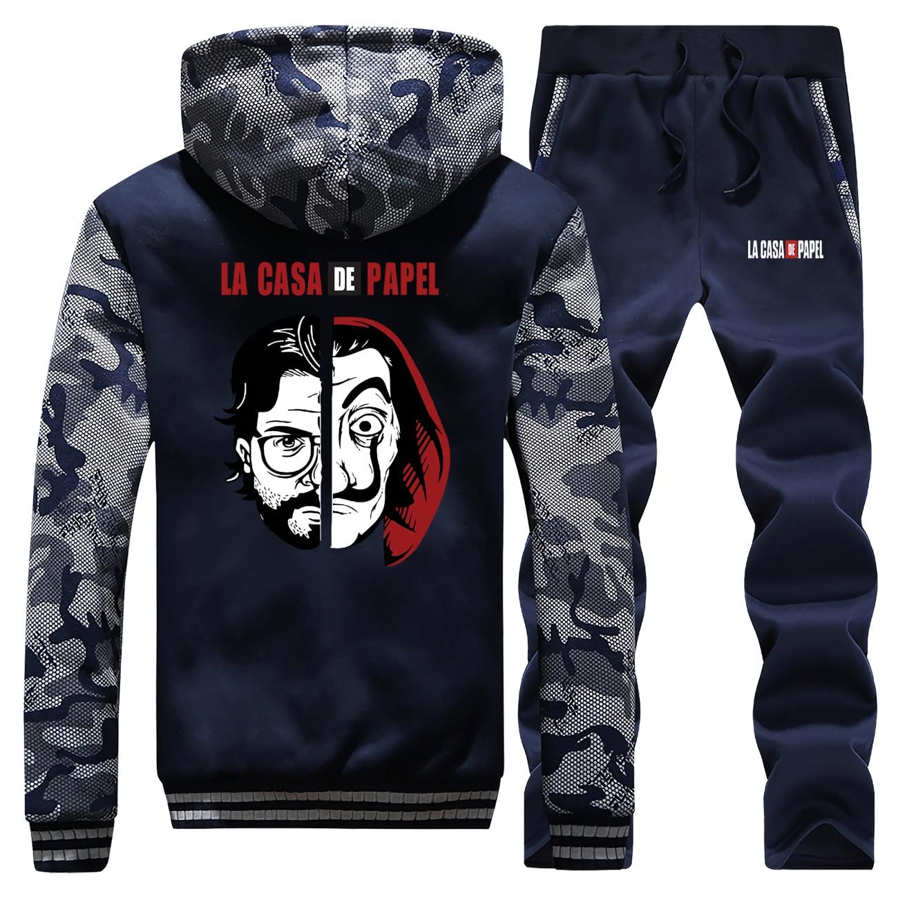 La Casa De Papel Thick Fleece Hoodies Men Hip Hop Jacket+Pants 2 Piece Sets Sergio Marquina Sweatshirt Set Mens Winter Warm Suit