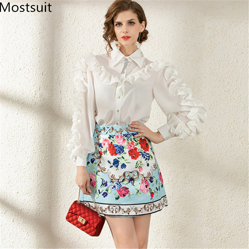 Vintage Office 2 Piece Skirt Suits Outfits Women Ruffles Shirt + Printed Mini A-line Skirt Suits Sets Fashion 2 Pcs Sets 2020