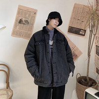 2019 New Japanese Cotton Winter Simple Solid Color Men's Loose Version Retro Gray Black Thick Lamb Hair Denim Jacket