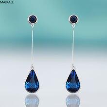 MAIKALE-pendientes de cristal de gota de agua para mujer, de Color brillante, aretes de gema en forma de lágrima negra y roja, bonito Chapado en plata, regalo de joyería