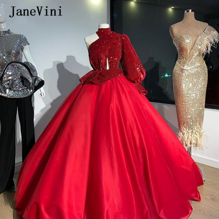 JaneVini Sparkle Red Sequins Ball Gown Quinceanera Dresses One Shoulder Puffy Long Sleeve Satin Floor Length Sweet 16 Prom Dress