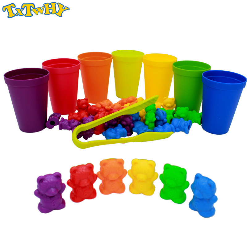 1 Set Counting Bears With Stacking Cups - Montessori Rainbow Matching Game, Educational Color Sorting Toys For Toddlers Baby