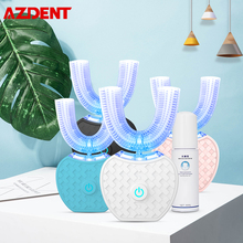AZDENT3D Blue Light Ultrasonic U Type Electric Toothbrush USB Rechargeable Teeth Whitener Cleaner 60ml Liquid Powder Toothpaste