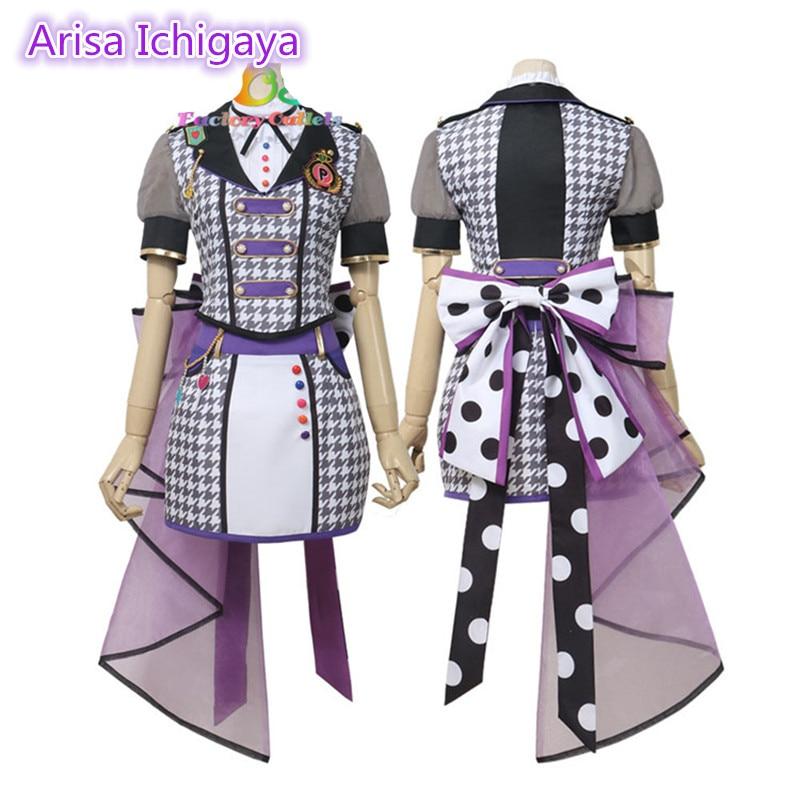 Japanese Bang Dream! Poppin'Party Hanazono Tae Cyberpunk Dress Cosplay Costume Japanese Halloween Gorgeous Dress H(China)