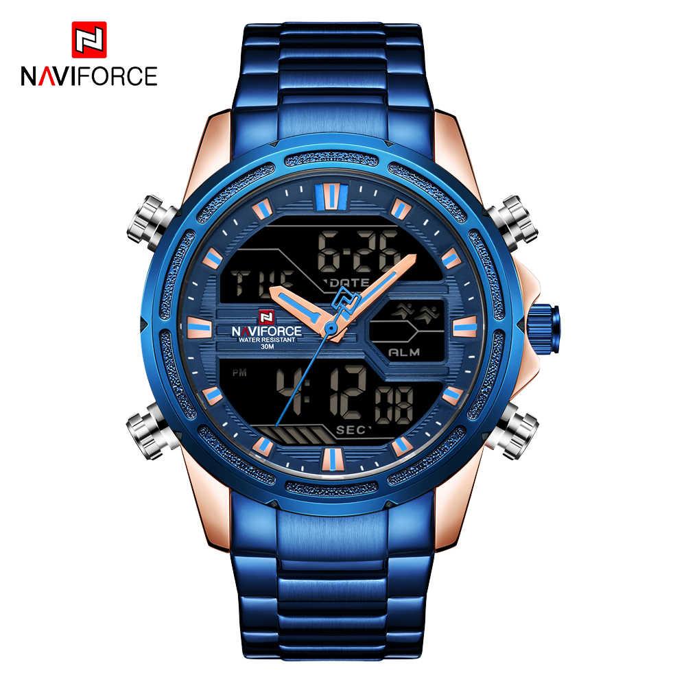 Naviforce relógio de pulso militar de aço completo masculino relógio de quartzo led digital masculino azul masculino relógios à prova dwaterproof água