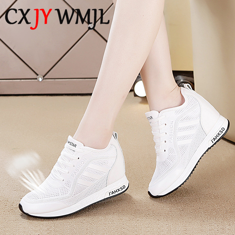 Women's Summer Sports Shoes White Tennis Female Wedge Casual Sneakers Women Platform Fashionable Leather Vulcanized Shoe Running 1