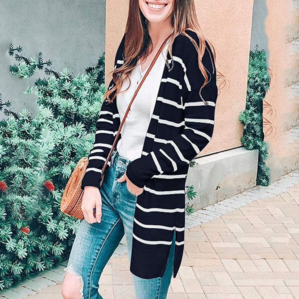 Women's Striped Long Sleeve Open Front Lightweight Cardigan