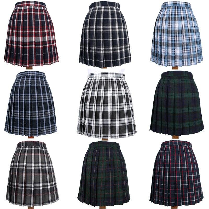 Japanese School Dresses Plaid Pleated Skirt Student Cosplay Anime Mini Grid Skirt Jk Uniforms Sailor Suit Short Skirts For Girls