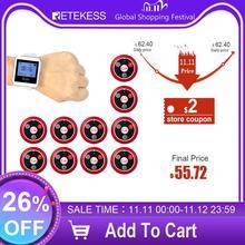 Беспроводная система вызова официанта RETEKESS, пейджер для обслуживания ресторанов, гость, пейджер, приемник часов + 10 кнопок вызова F3288B