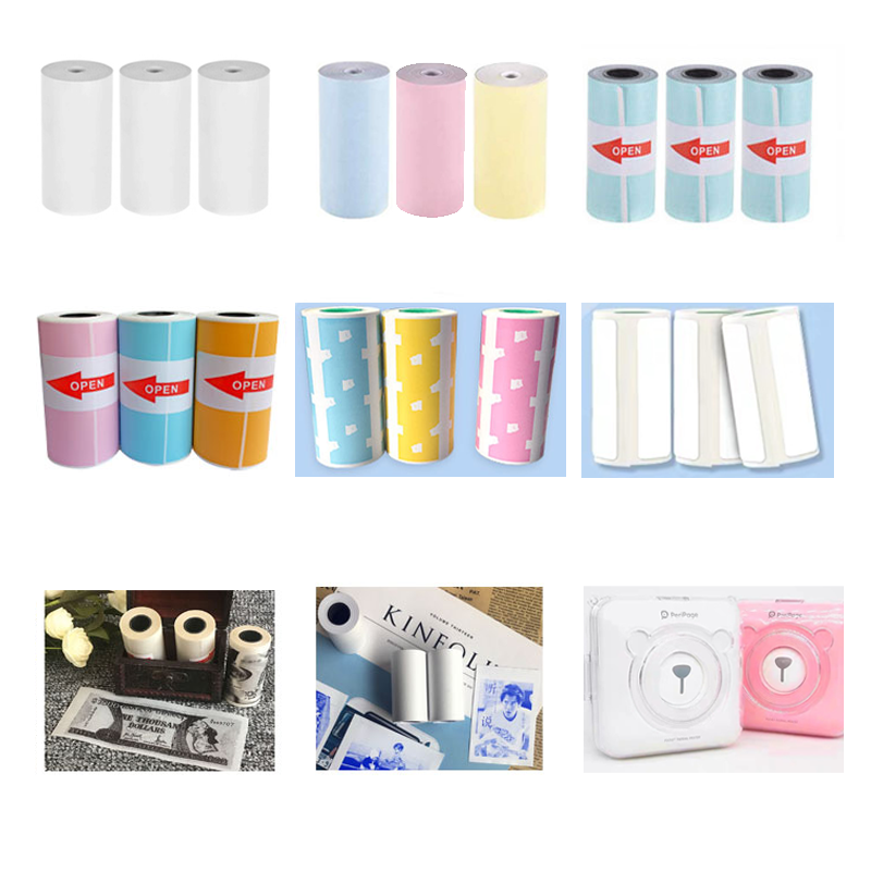 Thermal paper label paper adhesive  sticker  photo paper blue pink yellow for Peripage Paperang Printer