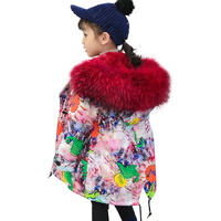 2019 Kids Fur Parka New Girl Clothing Long Padded Winter Jacket Baby Warm Teen Outwear Parka Child Thicken Hooded Real Fur Coats