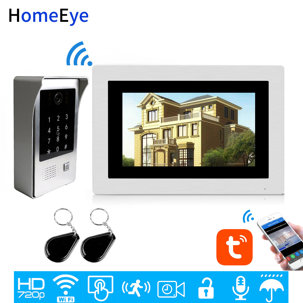 WiFi IP Video Door Phone Video Intercom Touch Screen TuyaSmart App Remote Unlock Password IC Card Security Access Control System