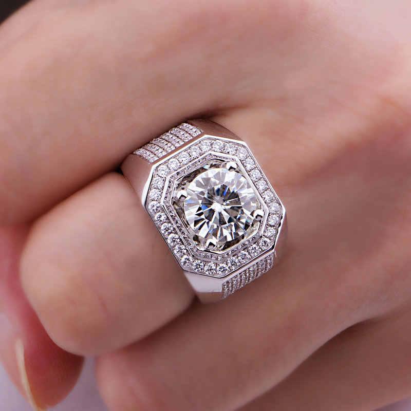 솔리테어 남성 8mm Sona 다이아몬드 반지 10KT 화이트 골드 쥬얼리 약혼 웨딩 밴드 반지 남성용 럭셔리 파티 액세서리
