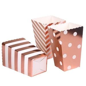 Image 3 - Boîte à Popcorn en papier 6 pièces, boîte à Popcorn en papier or argent et or Rose, vaisselle, vaisselle, soirée cinéma, mariage, anniversaire