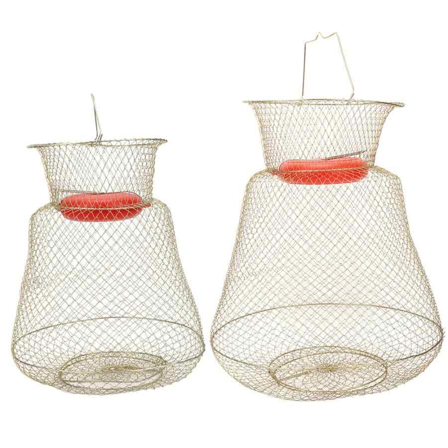 Portable Fishing Net Cage Fish Shrimp Basket Folding Stainless Round+Float Bowl