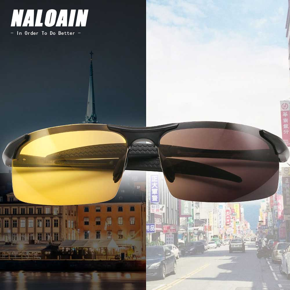 NALOAIN Night Vision Glasses Photochromic Sunglasses Yellow Polarized Lens UV400 Driving Goggles For Drivers Sport Men Women