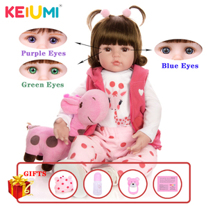 KEIUMI Hot Sale Reborn Baby Doll Toy Cloth Body Stuffed Realistic Baby Doll With Giraffe Toddler Birthday Christmas Gifts(China)