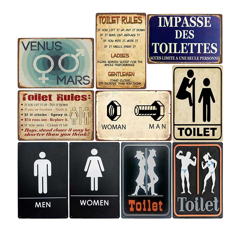 Funny Toilet Tin Signs Metal Vintage Plaque WC Poster Bar Pub Wall Decorative Bathroom Painting Plate Home Decor 20*30cm