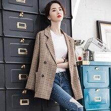High quality ladies blazer Double pocket temperament plaid suit jacket large size Women's office suit female 2019 autumn new недорого