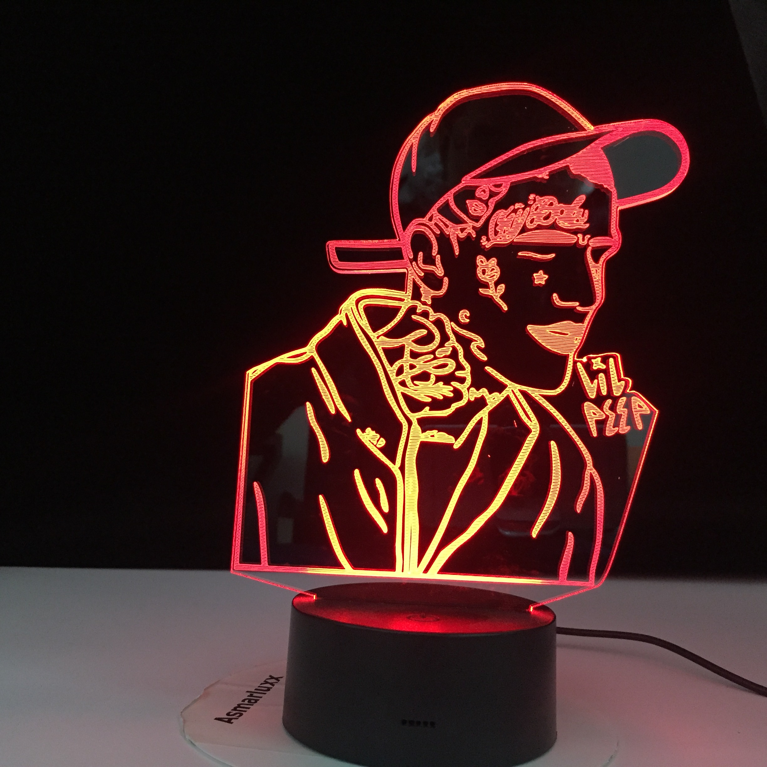 Lil Peep American Rapper 3D Led Night Light For Home Decoration Colorful Celebrity Nightlight Gift For Fans Dropshipping