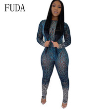 FUDA Newest Fashion Sexy Open Back Slim Printed Jumpsuits Elegant See Through Vintage Bodycon Long Playsuits Combinaison Femme