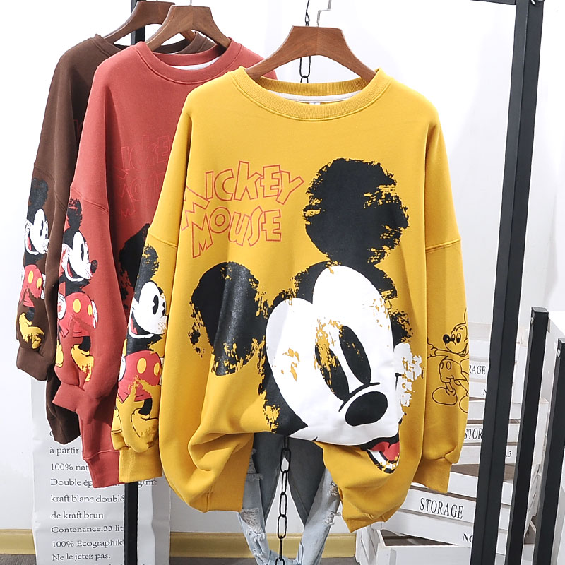 Disney Women Hoodies Sweatshirts Mickey Mouse Print Tops Casual Loose New Fashion Autumn Hoodies Long Sleeve Lady Female Clothes