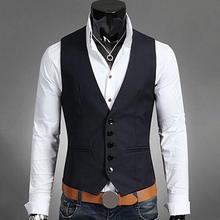 Британский стиль мужской костюм с v-образным вырезом без рукавов жилет мужской Приталенный жилет мужской жилет Повседневный официальный деловой жилет
