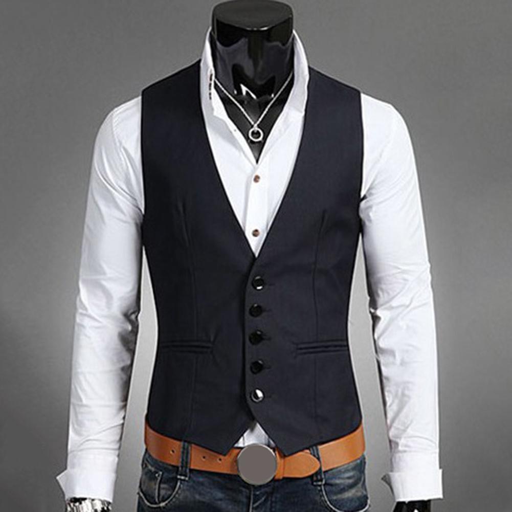 New British Style Men's Sleeveless V-neck Suit Vest Men Slim Fits  Vest 2019 Male Waistcoat Casual Formal Business Vest