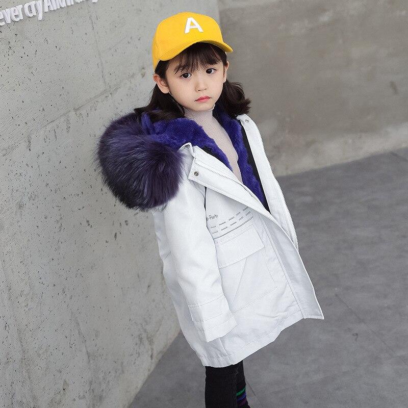 Rabbit Fur Coat Kids Girls Natural Fur Jackets for Boys Fox Fur Hooded Real Fur Coat Winter Jackets Girls Coat with Fur Hooded