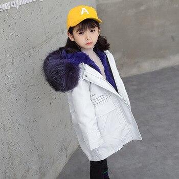 Rabbit Fur Coat Kids Girls Natural Fur Jackets for Boys Fox Fur Hooded Real Fur Coat Winter Jackets Girls Coat with Fur Hooded фото