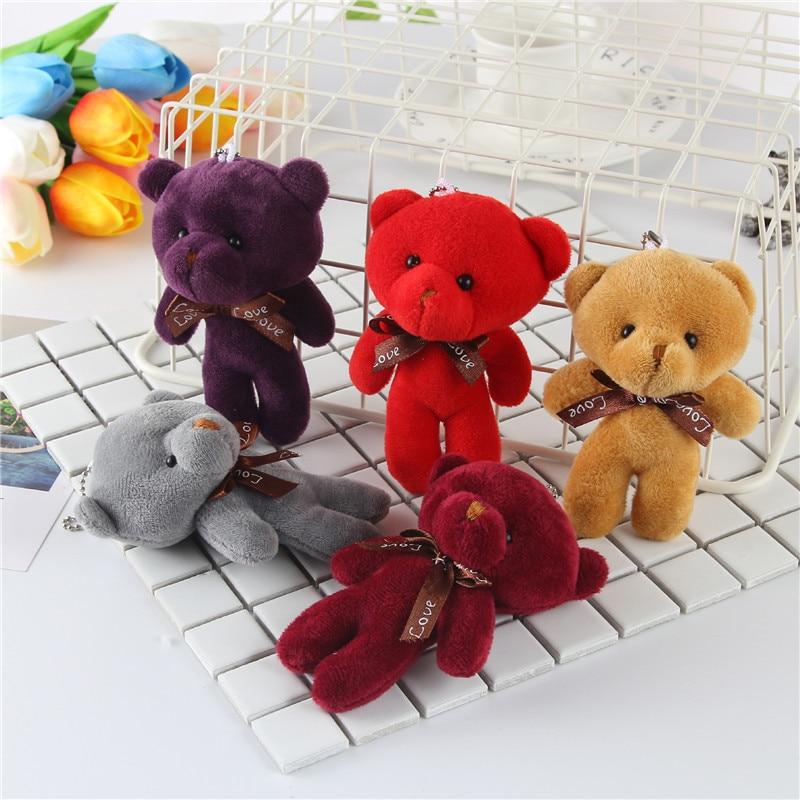 1PCS Mini Plush Conjoined Bear Toys Pendant PP Cotton Soft Stuffed Bears Toy Doll Holiday Gift Women Handbag Key Pendant